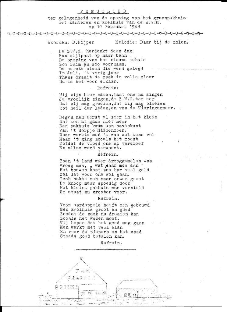 Feestlied bij opening coöperatieve Zaaizaad- en pootgoedtelersverening Wieringermeer, 1948