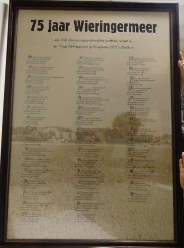 Ingelijst gedicht 75 jaar Wieringermeer