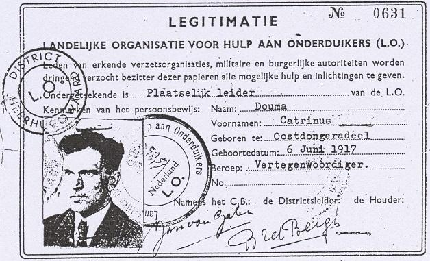 Catrinus Douma, legitimatiebewijs L.O., 1943.