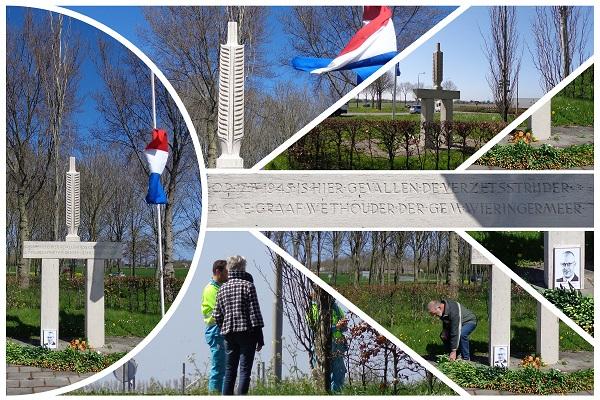 Oorlogsmonument nabij Wognum, Herdenking Wieringermeerder Adriaan Cornelis de Graaf 17april2020