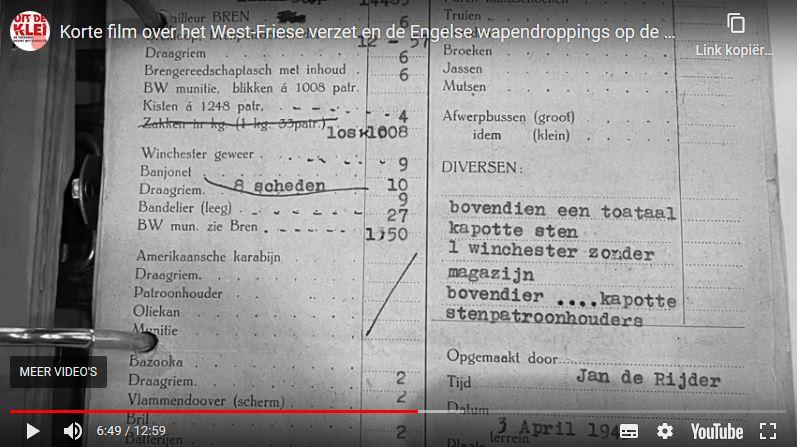 Filmstill uit De glorie van de Zomerdijk, een korte film van Stichting Uit de Klei over de wapendroppings op de Zomerdijk 1944/45.