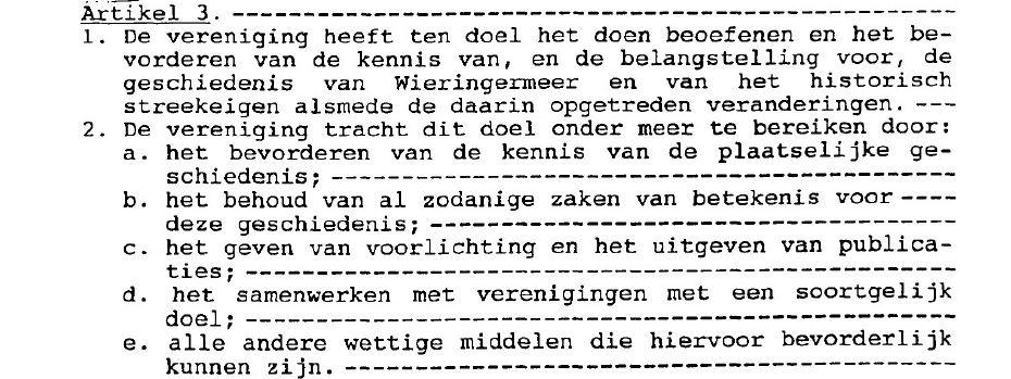 Statuten Historisch Genootschap Wieringermeer